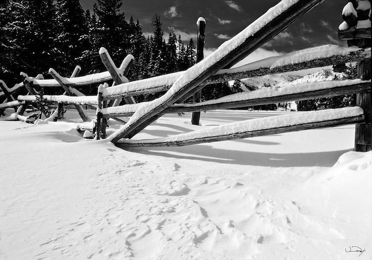 Winter Scene - Rail Fence
