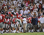 Ole Miss linebacker Keith Lewis (24) celebrates an interception by Ole Miss defensive back Frank Crawford (5) vs. Central Arkansas at Vaught-Hemingway Stadium in Oxford, Miss. on Saturday, September 1, 2012.