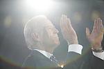 Democratic National Convention, 2008: Senator Joe Biden (D-Delaware), 2008 Democratic Vice-Presidential candidate, listens as Senator Barack Obama (D-Illinois) accepts the Democratic Party's nomination to be its 2008 Presidential candidate. Invesco Mile High Stadium, Denver, Colorado, August 28, 2008.