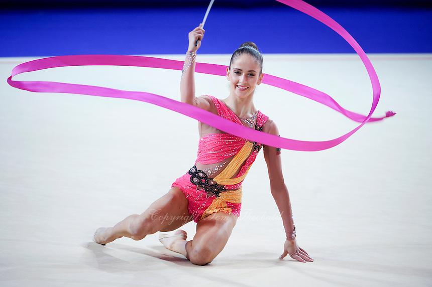 NEVIANA VLADINOVA of Bulgaria performs with ribbon at 2016 European Championships at Holon, Israel on June 18, 2016.