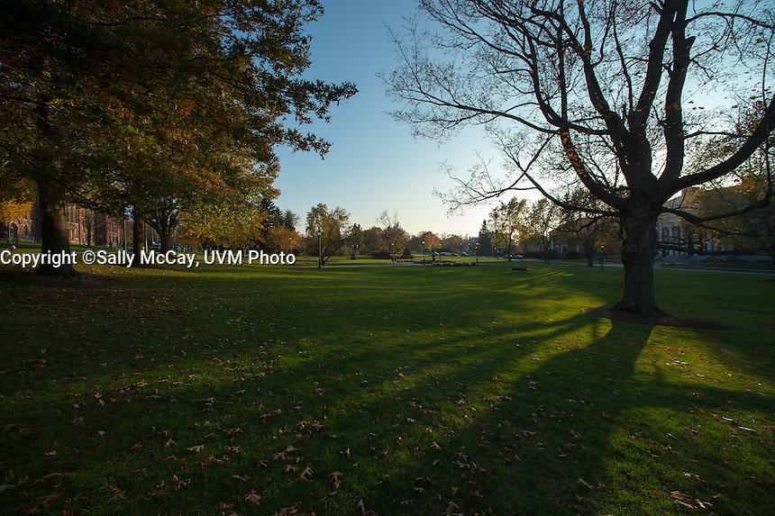 Dusk falls on the UVM Green, Fall UVM Campus