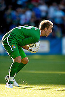 Manchester City's Joe Hart during a match at Merlo Field in Portland Oregon on July 17, 2010.