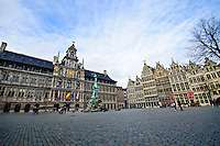 The Grote Markt, or market square in Antwerp, Belgium is the site of the city's town hall or Stadhuis.