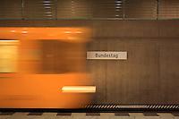 U-Bahn train arriving at the platform at the Bundestag U-Bahn station, Berlin, Germany. Picture by Manuel Cohen