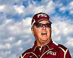 Florida State head coach Bobby Bowden speaks to his team prior to their Garnet and Gold game on Bobby Bowden Field on the Florida State University campus in Tallahassee, Florida April 4, 2009..