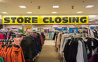 Store closing sign at the soon to be closing Sears store in Rego Park in the New York borough of the Queens on Saturday, February 18, 2017. Sears Holdings has deemed the store unprofitable and it will be closing sometime in April. The store is one of the 42 stores they will close in the spring. Sears is also closing 108 Kmart stores. (© Richard B. Levine)