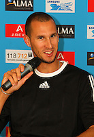 Jeremy Wariner at the Samsung Diamond League press conference, Pullman Hotel. Paris,France Thursday, July  15, 2010. photo by Errol Anderson.