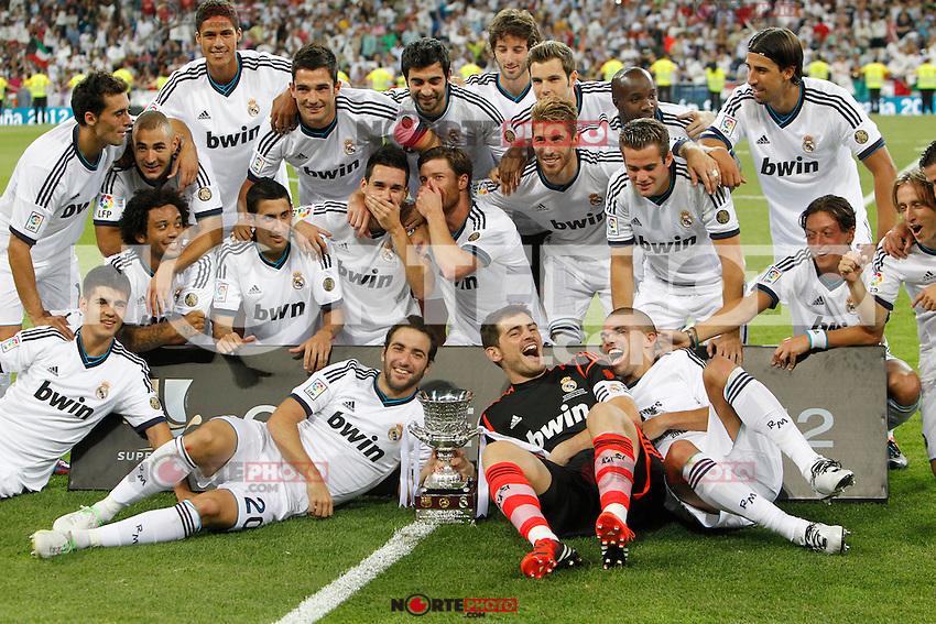 Real Madrid's players during Spanish Supercup 2nd match on august 29 2012...Photo: Cebola / Cid-Fuentes / ALFAQUI /NortePhoto.com<br /> <br /> **CREDITO*OBLIGATORIO** <br /> *No*Venta*A*Terceros*<br /> *No*Sale*So*third*<br /> *** No*Se*Permite*Hacer*Archivo**<br /> *No*Sale*So*third*