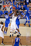 07 APR 2014: DeAndre Daniels of the University of Connecticut rebounds between Alex Poythress (22) and Julius Randle (30) of the University of Kentucky during the 2014 NCAA Men's DI Basketball Final Four Championship at AT&T Stadium in Arlington, TX.  Connecticut defeated Kentucky 60-54 to win the national title. Brett Wilhelm/NCAA Photos
