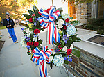 A wreath is placed at Duke's Memorial Wall alongside Duke Divinity School during the annual  Veterans Day Ceremony on Friday, Nov. 11.