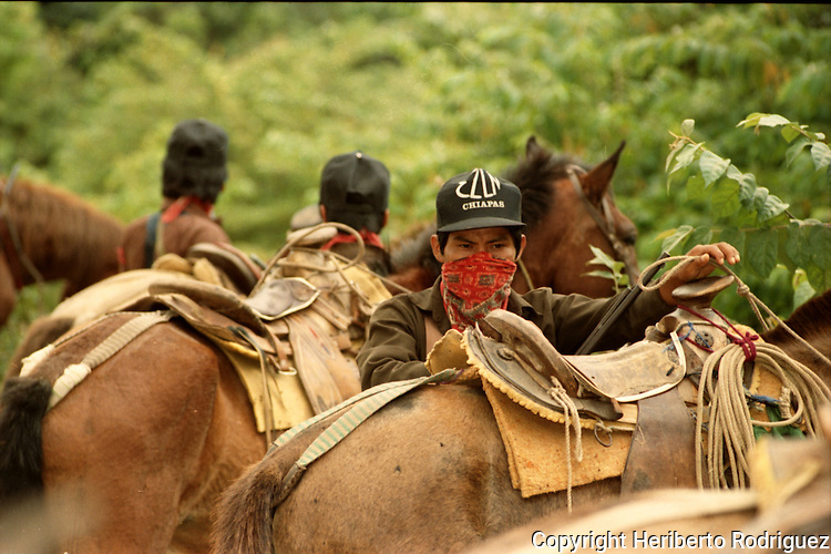 Zapatista cavalry takes a break  in the Lacandonian jungle in southern state of Chiapas, March 22, 1994.  Photo by Heriberto Rodriguez
