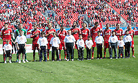 April 27, 2013: Toronto FC players during the opening ceremonies in a game between Toronto FC and the New York Red Bulls at BMO Field  in Toronto, Ontario Canada..The New York Red Bulls won 2-1.