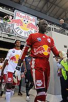 New York Red Bulls goalkeeper Bouna Coundoul (18) enters the field prior to the start of a friendly between Santos FC and the New York Red Bulls at Red Bull Arena in Harrison, NJ, on March 20, 2010. The Red Bulls defeated Santos FC 3-1.