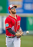 5 March 2016: Washington Nationals outfielder Bryce Harper flips a baseball to a fan after getting the 3rd out of the 5th inning during a Spring Training pre-season game against the Detroit Tigers at Space Coast Stadium in Viera, Florida. The Nationals defeated the Tigers 8-4 in Grapefruit League play. Mandatory Credit: Ed Wolfstein Photo *** RAW (NEF) Image File Available ***