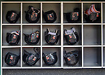 7 April 2016: Miami Marlins Batting Helmets are in place prior to the Washington Nationals Home Opening Game at Nationals Park in Washington, DC. The Marlins defeated the Nationals 6-4 in their first meeting of the 2016 MLB season. Mandatory Credit: Ed Wolfstein Photo *** RAW (NEF) Image File Available ***
