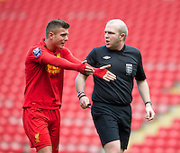 LIVERPOOL, ENGLAND - Easter Monday, April 1, 2013: Liverpool's Kristoffer Peterson appeals for a penalty during the Under 21 FA Premier League match against Tottenham Hotspur at Anfield. (Pic by David Rawcliffe/Propaganda)