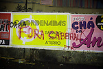 Graffiti on concert posters read: get out Cabbral, about the Rio's governor Sergio Cabbral, in downtown in Rio de Janeiro, Brazil, on Thursday, June 20, 2013. <br /> <br /> About 300,000 Cariocas (residents of Rio de Janeiro) protest downtown against the government, which began with a 20-cent hike in public transport fares, and moved to widespread frustration about a heavy tax burden, corrupt politicians and weak public education, health and transport systems, as the nation hosts the Confederations Cup soccer tournament and prepares for next month's papal visit. <br /> <br /> The demonstrations came despite the government's U-turn over public transport fare hikes which sparked the protests over a week ago.