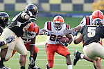 2 September 2006: Syracuse's Curtis Brinkley (22) cuts through the hole at the line of scrimmage. Wake Forest defeated Syracuse 20-10 at Groves Stadium in Winston-Salem, North Carolina in an NCAA college football game.