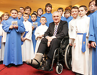 20/11/2008.Former Taoiseach Bertie Ahern TD with members of the Palestrina Choir wearing traditional choral robes at The National Concert Hall, Dublin marking the announcement of the Choirs forthcoming Christmas Carol Concert in the National Concert Hall 4th December 2008 & to celebrate the launch of their new CD 'Christmas with The Palestrina'..Photo: Gareth Chaney Collins