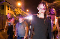 "CHARLOTTE, NC - September 3, 2012 - Germ (name given by man in pig nose) said he is from North Carolina and only came out to join the march to see ""how the police operate."""