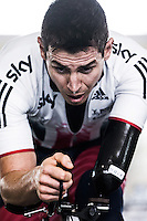 Picture by Alex Whitehead/SWpix.com - 19/03/2016 - Cycling - 2016 UCI Para-cycling Track World Championships, Day 3 - Velodromo Montichiari, Lombardy, Italy - Great Britain's Jaco Van Gass warms-up on the bike.