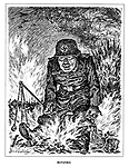 Bonfire. (a German soldier sits on the flames caused by Allied bombing raids)