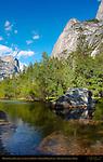 Mirror Lake Boulder, Mount Watkins and Ahwiyah Point in Spring, Lower Mirror Lake, Yosemite National Park