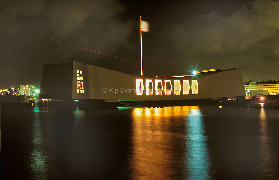USS Arizona Memorial at Night in Hawaii