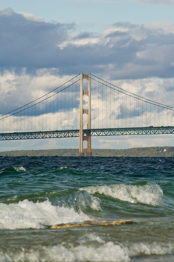 The Mackinac Bridge and waves as seen from a park in Mackinaw City, Michigan.