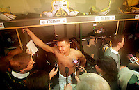 Green Bay Packers receiver Antonio Freeman interviewed after the Green Bay Packers won the NFC Championship game 30-13 against the Carolina Panthers on January 12, 1997.