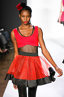 Ornelia walks runway in a bebeBlack Fall 2011 outfit, at the Style 360 Fall 2011 fashion show, during New York Fashion Week.