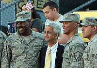 COLUMBUS, OHIO - SEPTEMBER 11, 2012:  Sunil Galati of the USA MNT poses with airmen from Weight-Patterson airbase in Dayton before the  Jamaica game during a CONCACAF 2014 World Cup qualifying  match at Crew Stadium, in Columbus, Ohio on September 11. USA won 1-0.