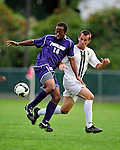 11 September 2009: University of Portland Pilots' midfielder Collen Warner, a Senior from Denver, CO (left), battles University of Vermont Catamount midfielder/backfielder Rem Kielman, a Junior from Hinesburg, VT, in the first round of the 2009 Morgan Stanley Smith Barney Soccer Classic held at Centennial Field in Burlington, Vermont. The Catamounts and Pilots battled to a 1-1 double-overtime tie. Mandatory Photo Credit: Ed Wolfstein Photo