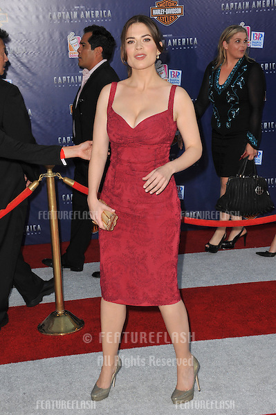 """British actress Hayley Atwell at the premiere of her new movie """"Captain America: The First Avenger"""" at the El Capitan Theatre, Hollywood..July 19, 2011  Los Angeles, CA.Picture: Paul Smith / Featureflash"""