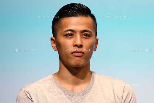 Japanese basketball player Yuki Togashi attends the SoftBank's new TV commercial press conference in Tokyo, Japan on June 16, 2016. (Photo by Shingo Ito/AFLO)