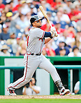24 September 2011: Atlanta Braves outfielder Martin Prado in action against the Washington Nationals at Nationals Park in Washington, DC. The Nationals defeated the Braves 4-1 to even up their 3-game series. Mandatory Credit: Ed Wolfstein Photo