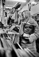 New York, New York City, USA, March 1970. French singer Sylvie Vartan at a record's store in New York City, holding a Johnny Cash record. At the time she was staying in the US recovering from injuries she sustained in a car accident.