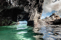 The view from the inside of an ocean cave at Waimea Bay, North Shore, O'ahu.