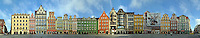 A panorama of the Rynek in Wroclaw/Breslau, Poland.