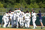 28 May 2016: Cal Poly Pomona's players celebrate at the end of the game. The Cal Poly Pomona Broncos played the Southern Indiana Eagles in Game 2 of the 2016 NCAA Division II College World Series  at Coleman Field at the USA Baseball National Training Complex in Cary, North Carolina. Cal Poly Pomona won the game 2-1 in ten innings.