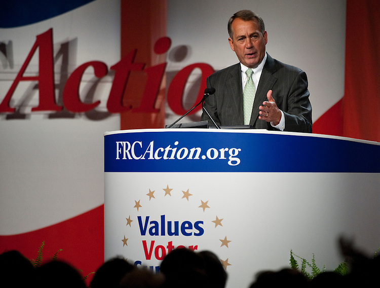 UNITED STATES - OCTOBER 7: Speaker of the House John Boehner, R-Ohio,, speaks at the Family Research Council's Values Voter Summit in Washington on Friday, Oct. 7, 2011. (Photo By Bill Clark/CQ Roll Call)