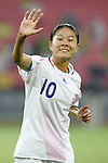 21 August 2008: Homare Sawa (JPN), pregame. Germany's Women's National Team defeated Japan's Women's National Team 2-0 at the Worker's Stadium in Beijing, China in the Bronze Medal match in the Women's Olympic Football tournament.