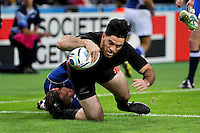 Nehe Milner-Skudder of New Zealand scores a try in the first half. Rugby World Cup Pool C match between New Zealand and Namibia on September 24, 2015 at The Stadium, Queen Elizabeth Olympic Park in London, England. Photo by: Patrick Khachfe / Onside Images
