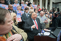 Businessman John A. Catsimatidis, joined by family and supporters, announces his run for Mayor of the City of New York as a Republican on the steps of City Hall in New York on Tuesday, January 29, 2013. Catsimatidis is most familiar to New Yorkers as the owner of loved and loathed Gristedes supermarket chain but has business interests in a myriad of other endeavors. (© Richard B. Levine)