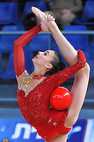 Viktoria Shynkarenko of Ukraine performs with ball at 2011 Holon Grand Prix at Holon, Israel on March 4, 2011.  (Photo by Tom Theobald).