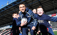 Picture by Simon Wilkinson/SWpix.com - 03/02/2015 - Rugby League - Sky Try Launch - Select Security Stadium, Widnes, England - Rugby League star Kevin Sinfield launches Sky Try at Widnes Vikings' Stadium with local school children.