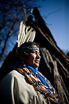 Winnemem chief and spiritual leader Caleen Sisk-Franco poses for a portrait outside a traditional bark dwelling at their village called Tuiimyali in Jones Valley, Calif. March 17, 2010.