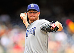 29 May 2011: San Diego Padres pitcher Dustin Moseley on the mound against the Washington Nationals at Nationals Park in Washington, District of Columbia. The Padres defeated the Nationals 5-4 to take the rubber match of their 3-game series. Mandatory Credit: Ed Wolfstein Photo