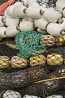 Colorful salmon seine commercial fishing nets and floats, Sitka, Alaska, USA