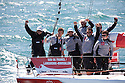 Sud de France, winners of the 2011 Tour de France a la Voile team. Skippered by Bertrand Pace also pictured with Torben Greal.Credit: Lloyd Images